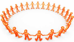 Figures stand in a circle, hand-in-hand.