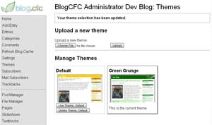 Preview of the Theme Management section in the BlogCFC Administrator.